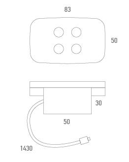 Botonera metálica rectangular 4 botones - Técnico