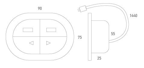 Botonera empotrada + 2 USB - Técnico