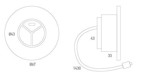 Botonera empotrada redonda + USB - Técnico