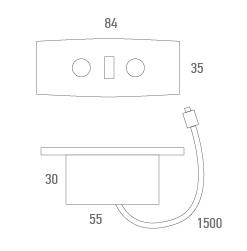 Botonera inyectada rectangular con USB  -Técnico