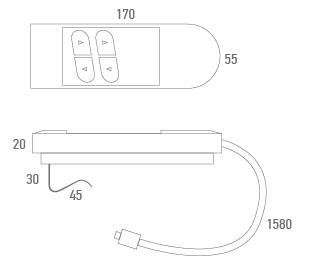 Mando cable grande 4 botones con cable telefónico - Técnico