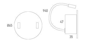 Base redonda con 2 USB - Técnico