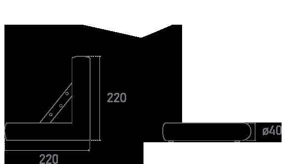 Mod. Tubo Cromo Corner- Plano técnico - Suministros Lomar