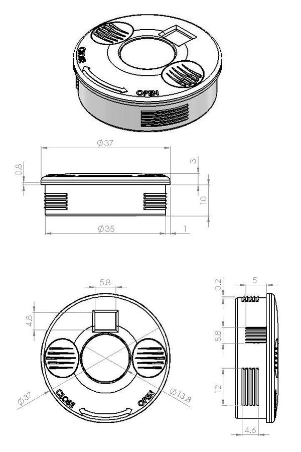 LED avec détecteur de mouvement - Plan technique - Suministros Lomar